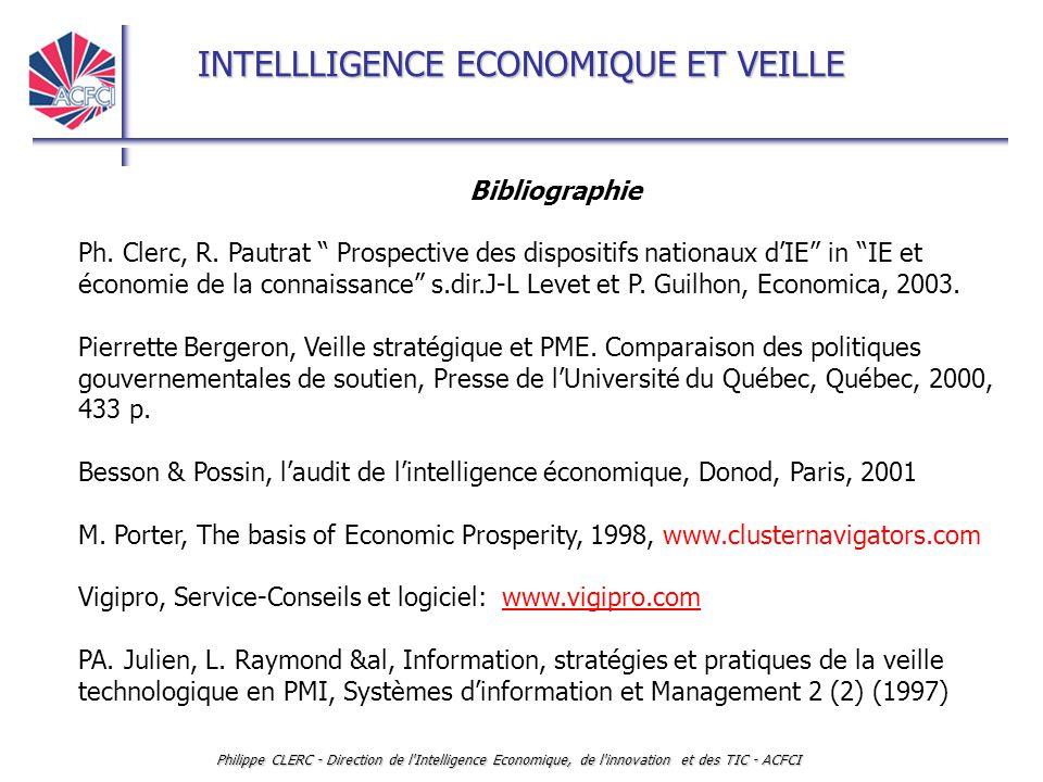 INTELLLIGENCE ECONOMIQUE ET VEILLE Philippe CLERC - Direction de l Intelligence Economique, de l innovation et des TIC - ACFCI Bibliographie Ph.