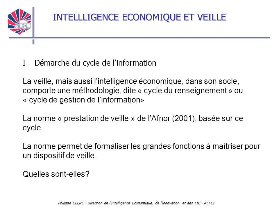 INTELLLIGENCE ECONOMIQUE ET VEILLE Philippe CLERC - Direction de l Intelligence Economique, de l innovation et des TIC - ACFCI I – Démarche du cycle de l'information La veille, mais aussi l'intelligence économique, dans son socle, comporte une méthodologie, dite « cycle du renseignement » ou « cycle de gestion de l'information» La norme « prestation de veille » de l'Afnor (2001), basée sur ce cycle.