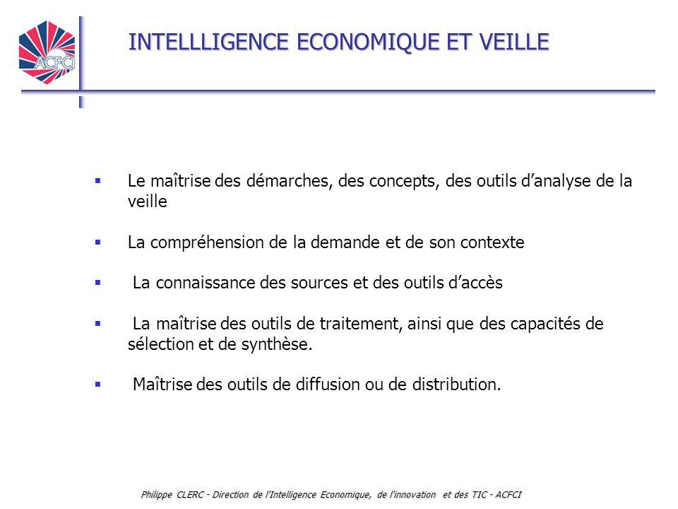 INTELLLIGENCE ECONOMIQUE ET VEILLE Philippe CLERC - Direction de l'Intelligence Economique, de l'innovation et des TIC - ACFCI  Le maîtrise des démar