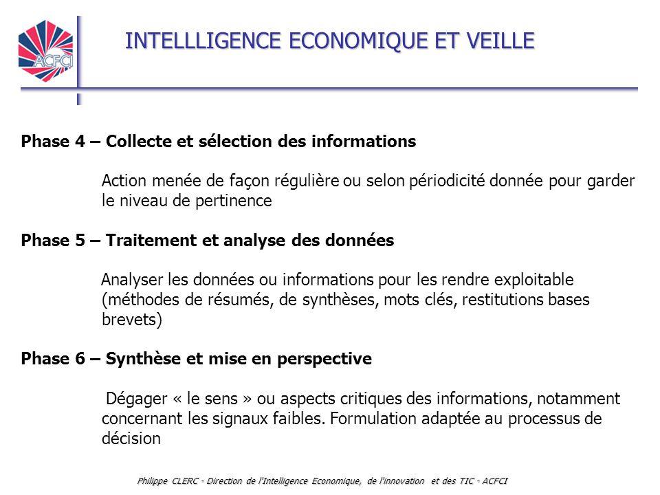 INTELLLIGENCE ECONOMIQUE ET VEILLE Philippe CLERC - Direction de l'Intelligence Economique, de l'innovation et des TIC - ACFCI Phase 4 – Collecte et s