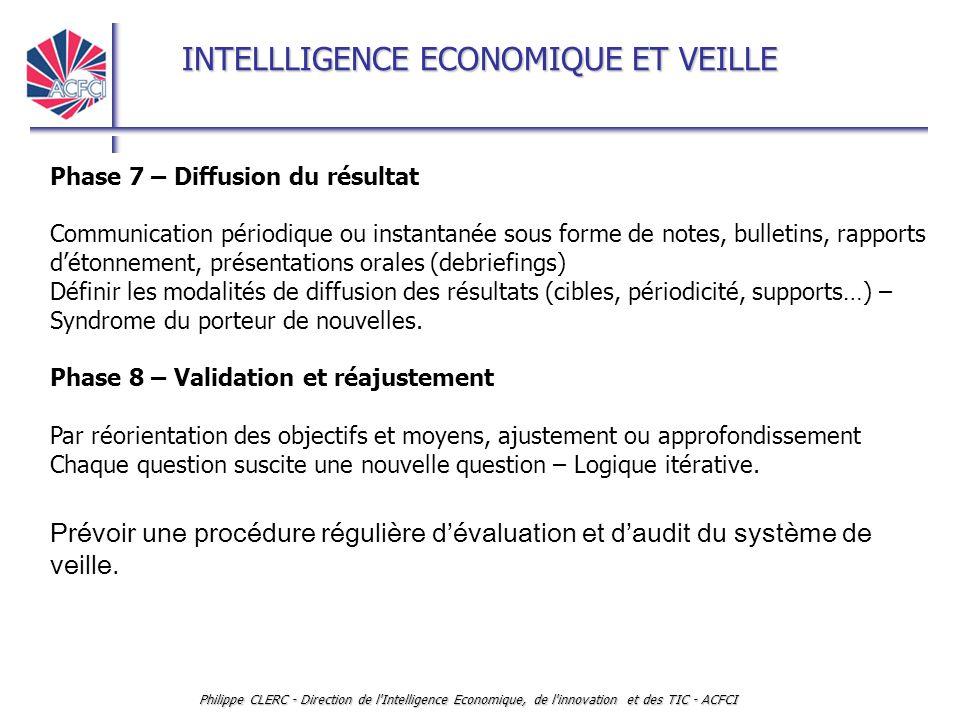 INTELLLIGENCE ECONOMIQUE ET VEILLE Philippe CLERC - Direction de l'Intelligence Economique, de l'innovation et des TIC - ACFCI Phase 7 – Diffusion du