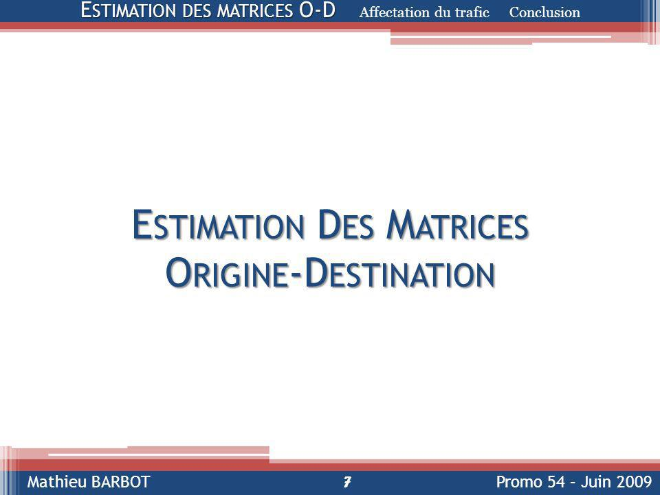 Mathieu BARBOTPromo 54 – Juin 2009 E STIMATION D ES M ATRICES O RIGINE -D ESTINATION 7 E STIMATION DES MATRICES O-D E STIMATION DES MATRICES O-D Affectation du trafic Conclusion