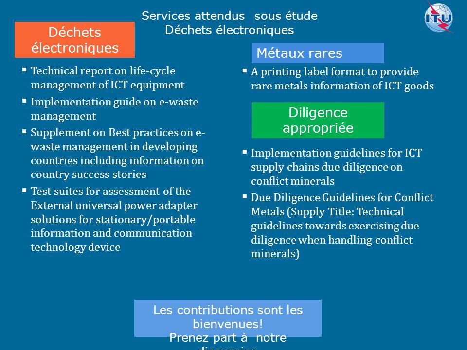 Committed to connecting the world  Recommandation UIT-T L.1300rev - Meilleures pratiques pour les centres de données verts Recommandation UIT-T L.1310rev - mesures d efficacité énergétique et de mesure pour l équipement CCM Recommandation UIT-T L.1320 - mesures d efficacité énergétique et de la mesure de la puissance et des équipements de refroidissement pour les télécommunications et les centres de données Recommandation UIT-T L.1340 - valeurs informatives sur l efficacité énergétique des équipements de télécommunication Supplément sur  l efficacité énergétique pour équipements de télécommunication Faits saillants sur les services à fournir