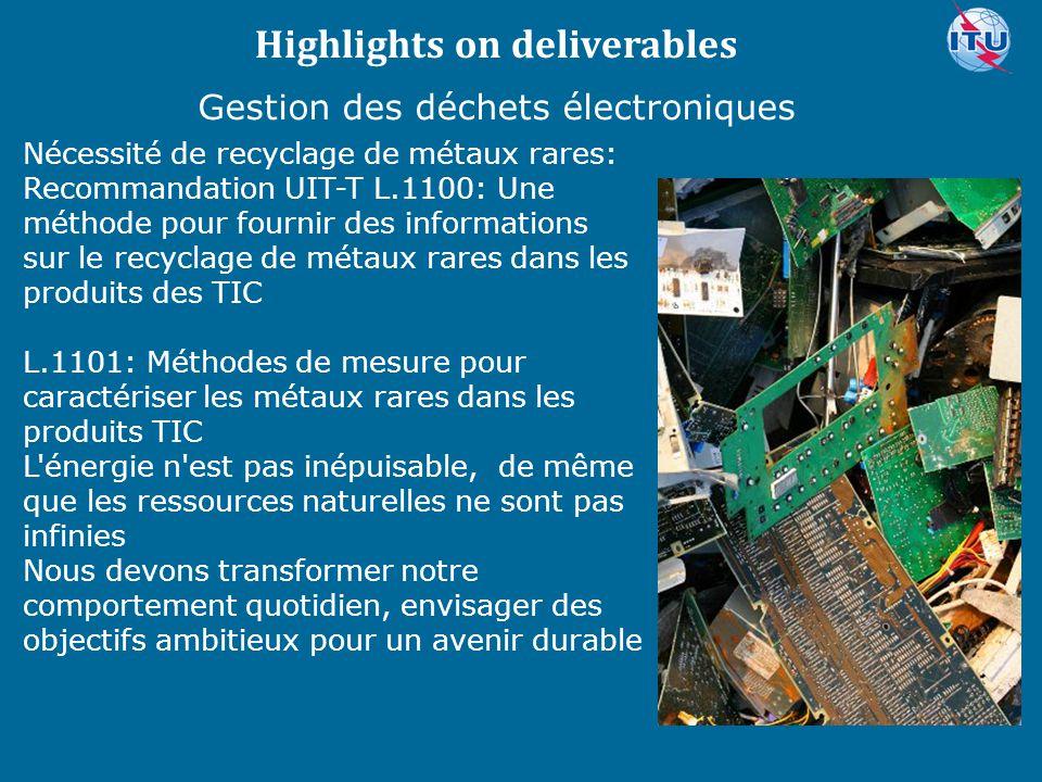 Committed to connecting the world Nécessité de recyclage de métaux rares: Recommandation UIT-T L.1100: Une méthode pour fournir des informations sur le recyclage de métaux rares dans les produits des TIC L.1101: Méthodes de mesure pour caractériser les métaux rares dans les produits TIC L énergie n est pas inépuisable, de même que les ressources naturelles ne sont pas infinies Nous devons transformer notre comportement quotidien, envisager des objectifs ambitieux pour un avenir durable Highlights on deliverables Gestion des déchets électroniques