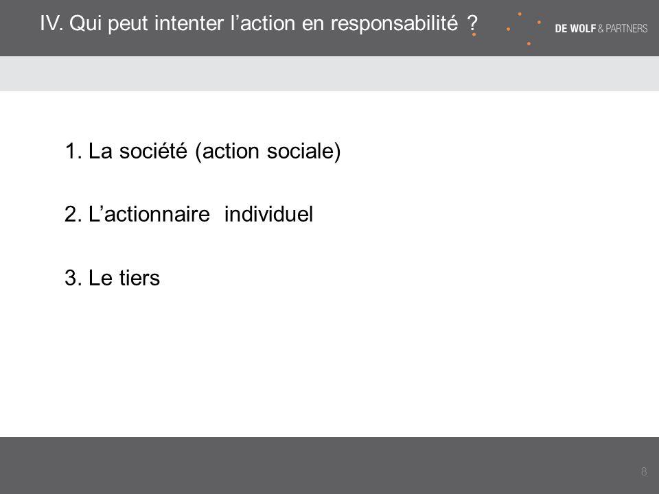 IV. Qui peut intenter l'action en responsabilité ? 1. La société (action sociale) 2. L'actionnaire individuel 3. Le tiers 8