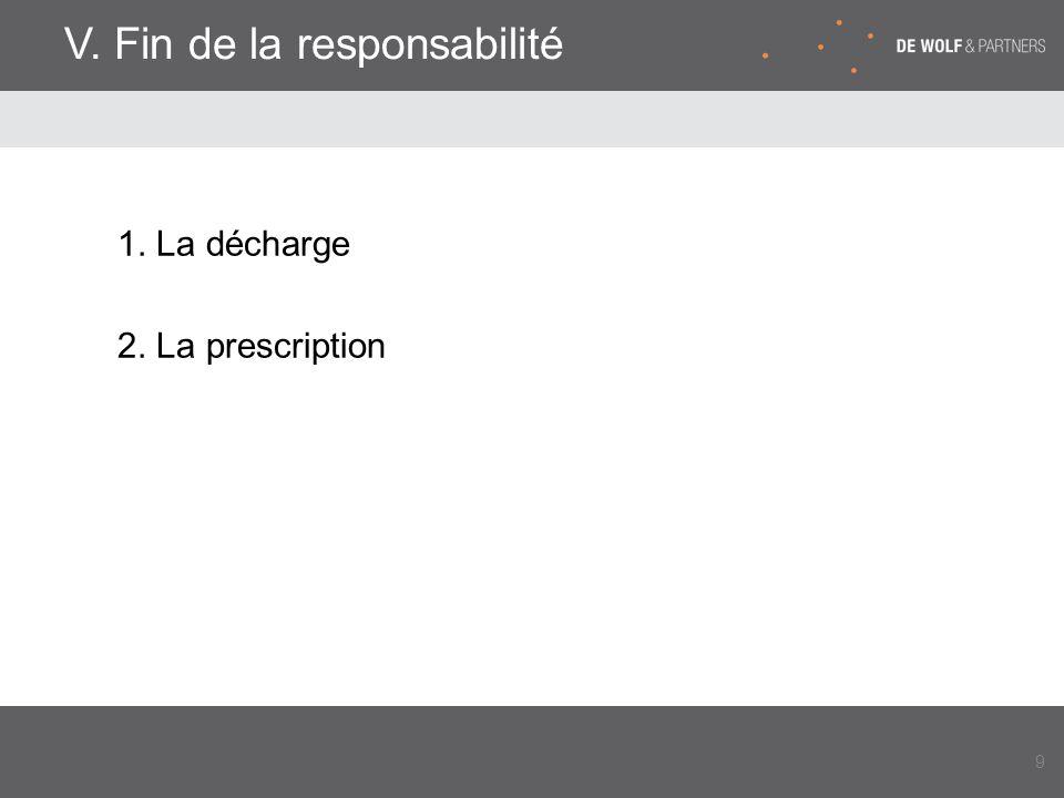 V. Fin de la responsabilité 1. La décharge 2. La prescription 9