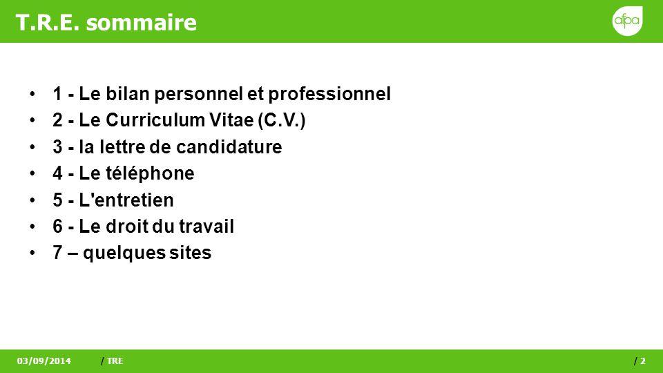 T.R.E. sommaire 1 - Le bilan personnel et professionnel 2 - Le Curriculum Vitae (C.V.) 3 - la lettre de candidature 4 - Le téléphone 5 - L'entretien 6