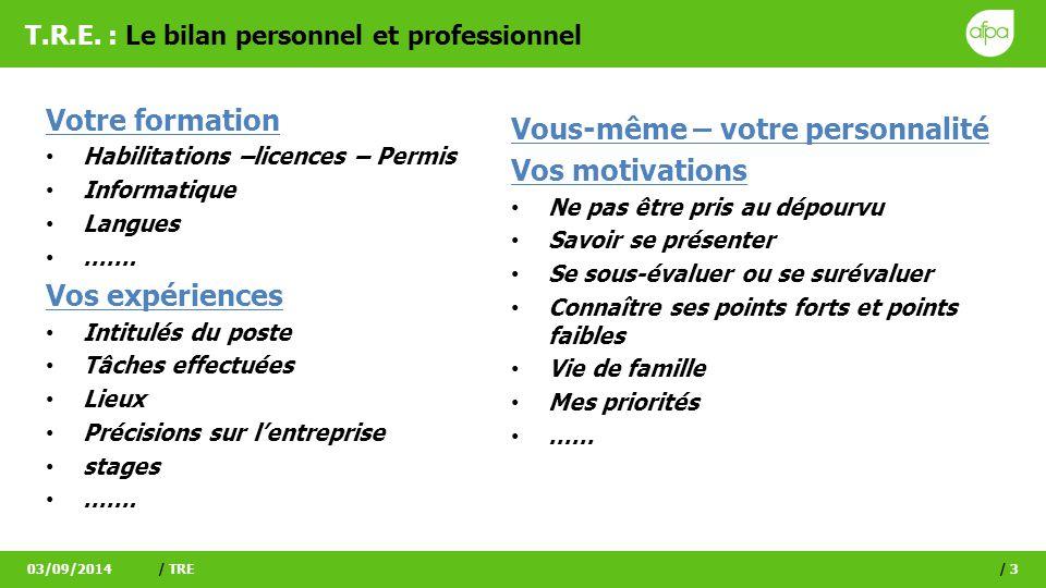 T.R.E. : Le bilan personnel et professionnel Votre formation Habilitations –licences – Permis Informatique Langues ……. Vos expériences Intitulés du po
