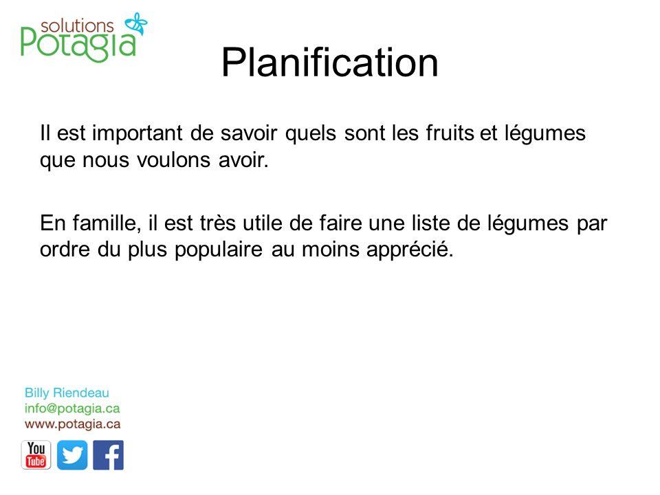 Planification Il est important de savoir quels sont les fruits et légumes que nous voulons avoir. En famille, il est très utile de faire une liste de