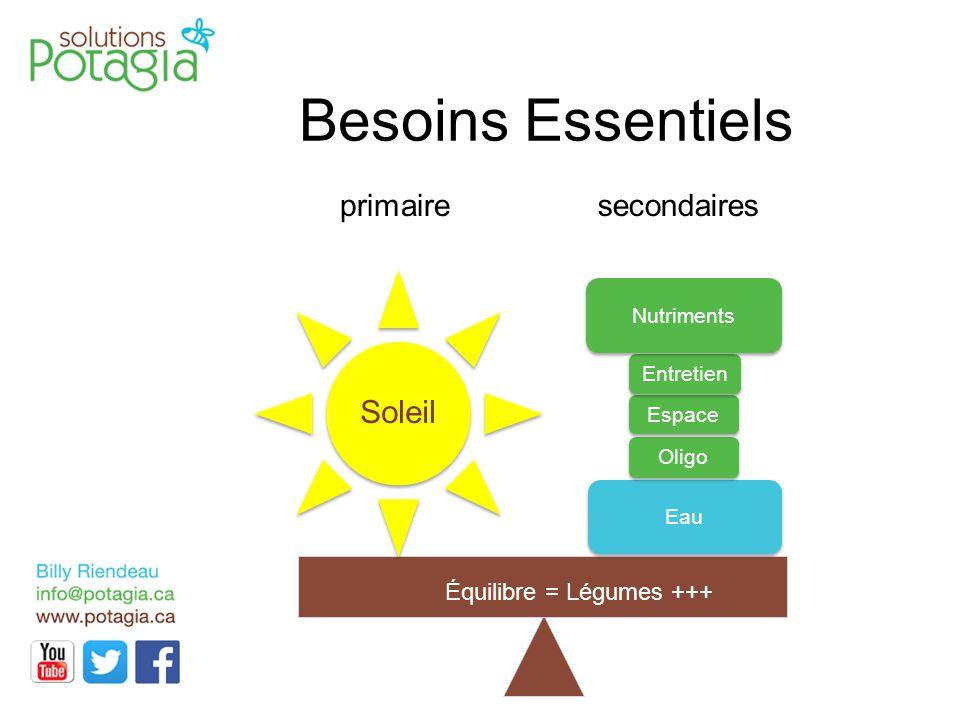 Besoins Essentiels primairesecondaires Eau Oligo Espace Soleil Entretien Nutriments Équilibre = Légumes +++