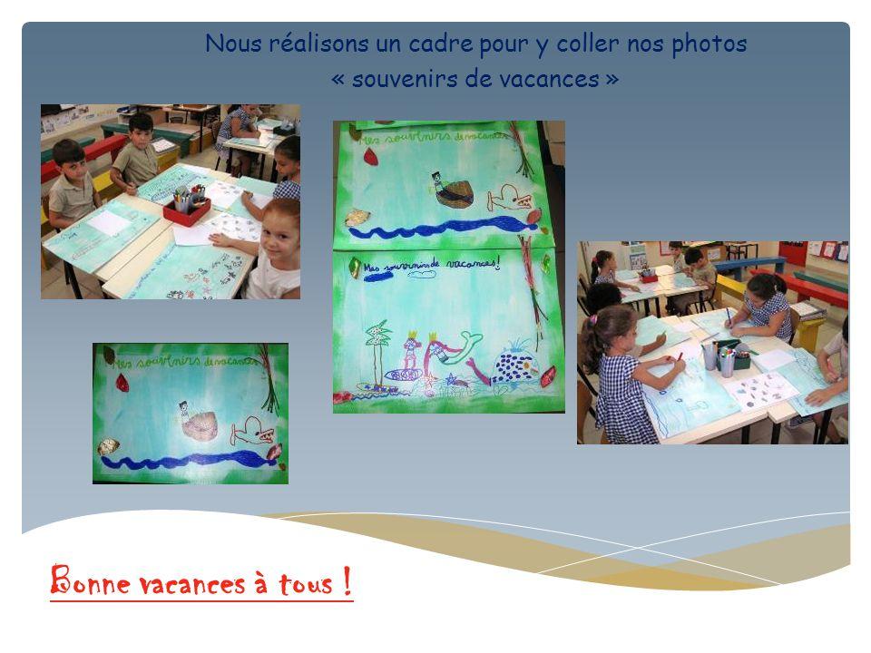 Nous réalisons un cadre pour y coller nos photos « souvenirs de vacances » Bonne vacances à tous !