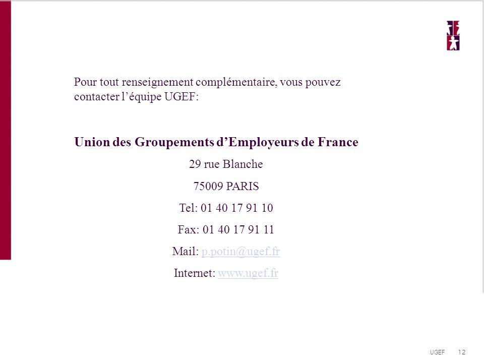 12 UGEF Pour tout renseignement complémentaire, vous pouvez contacter l'équipe UGEF: Union des Groupements d'Employeurs de France 29 rue Blanche 75009