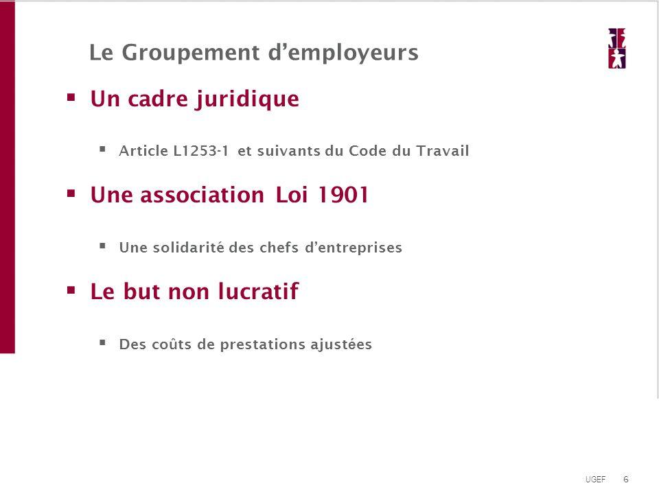6 UGEF Le Groupement d'employeurs  Un cadre juridique  Article L1253-1 et suivants du Code du Travail  Une association Loi 1901  Une solidarité de
