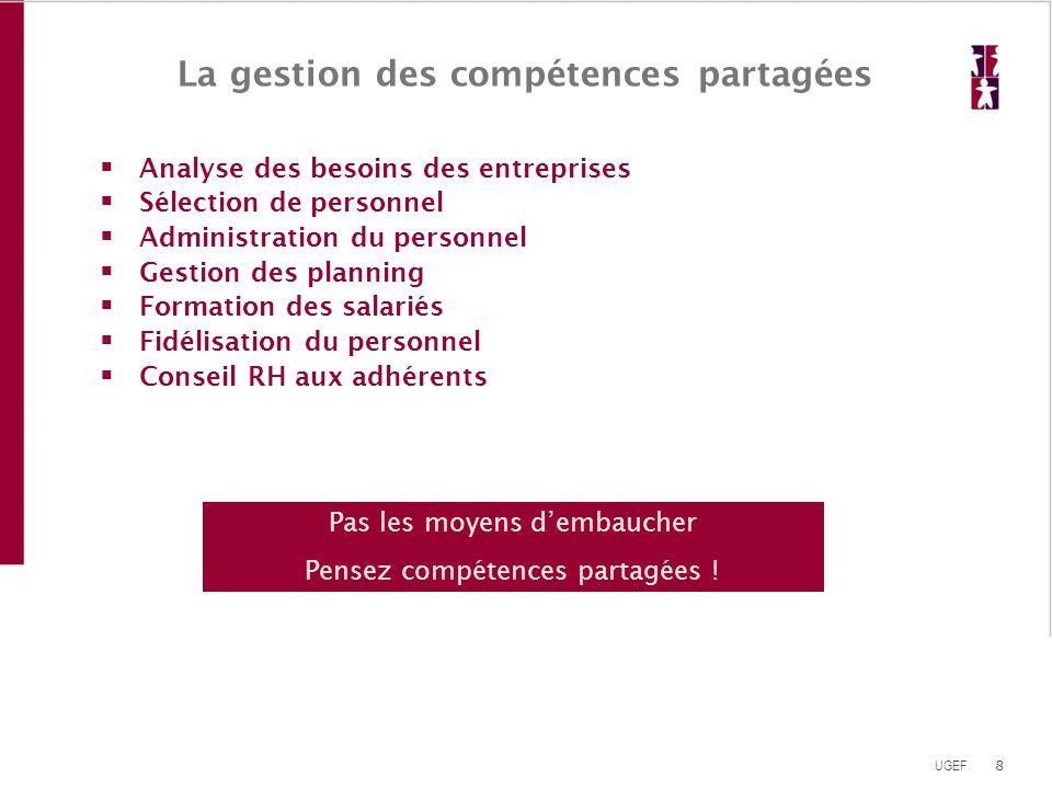 8 UGEF La gestion des compétences partagées  Analyse des besoins des entreprises  Sélection de personnel  Administration du personnel  Gestion des