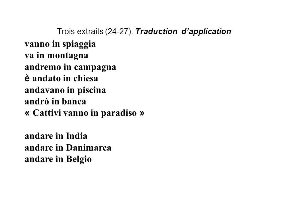 Trois extraits (24-27): Traduction d'application vanno in spiaggia va in montagna andremo in campagna è andato in chiesa andavano in piscina andrò in banca « Cattivi vanno in paradiso » andare in India andare in Danimarca andare in Belgio