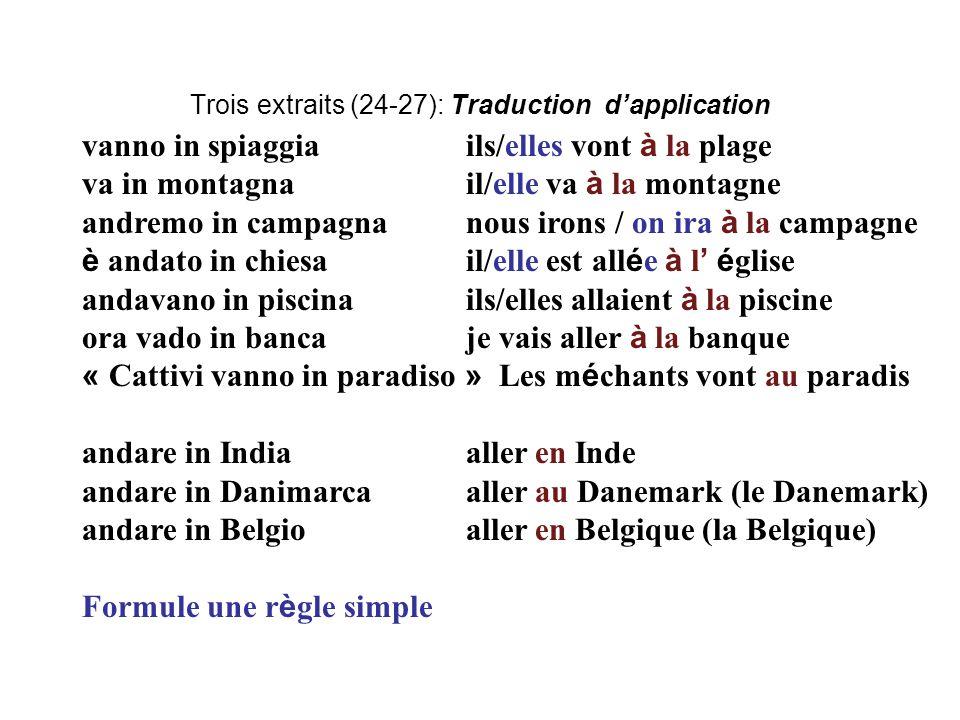 Trois extraits (24-27): Traduction d'application vanno in spiaggiails/elles vont à la plage va in montagnail/elle va à la montagne andremo in campagna