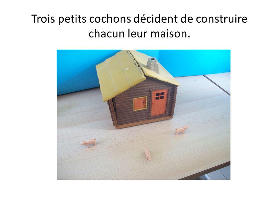 Trois petits cochons décident de construire chacun leur maison.