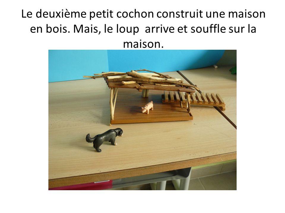 Le deuxième petit cochon construit une maison en bois. Mais, le loup arrive et souffle sur la maison.