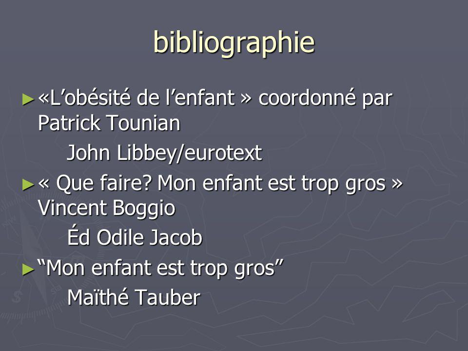 bibliographie ► «L'obésité de l'enfant » coordonné par Patrick Tounian John Libbey/eurotext ► « Que faire? Mon enfant est trop gros » Vincent Boggio É