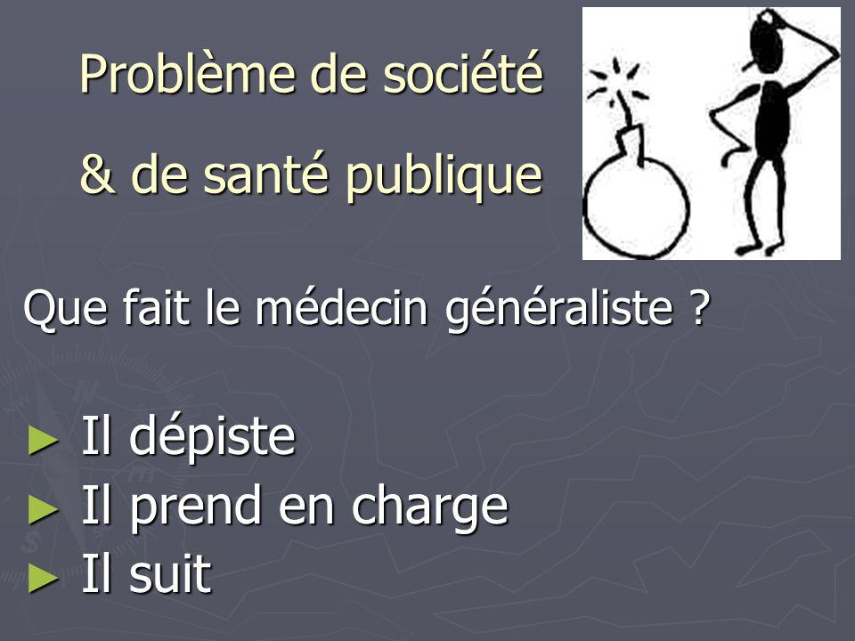 Problème de société & de santé publique Que fait le médecin généraliste ? ► Il dépiste ► Il prend en charge ► Il suit