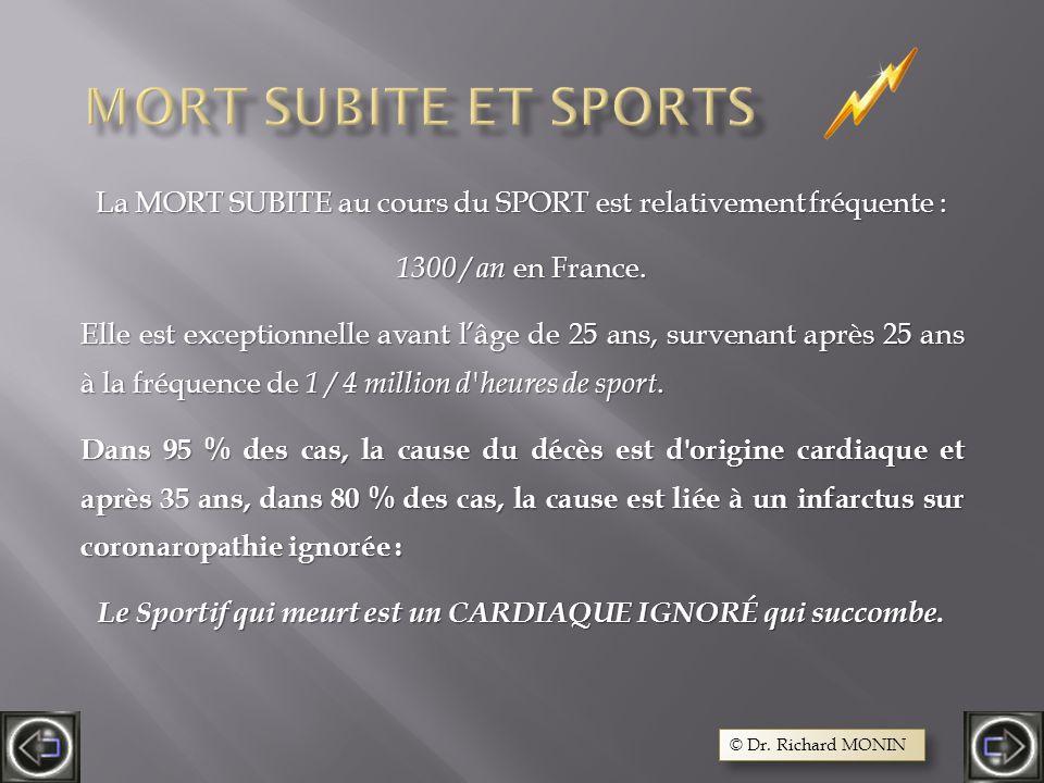 La MORT SUBITE au cours du SPORT est relativement fréquente : 1300 / an en France.