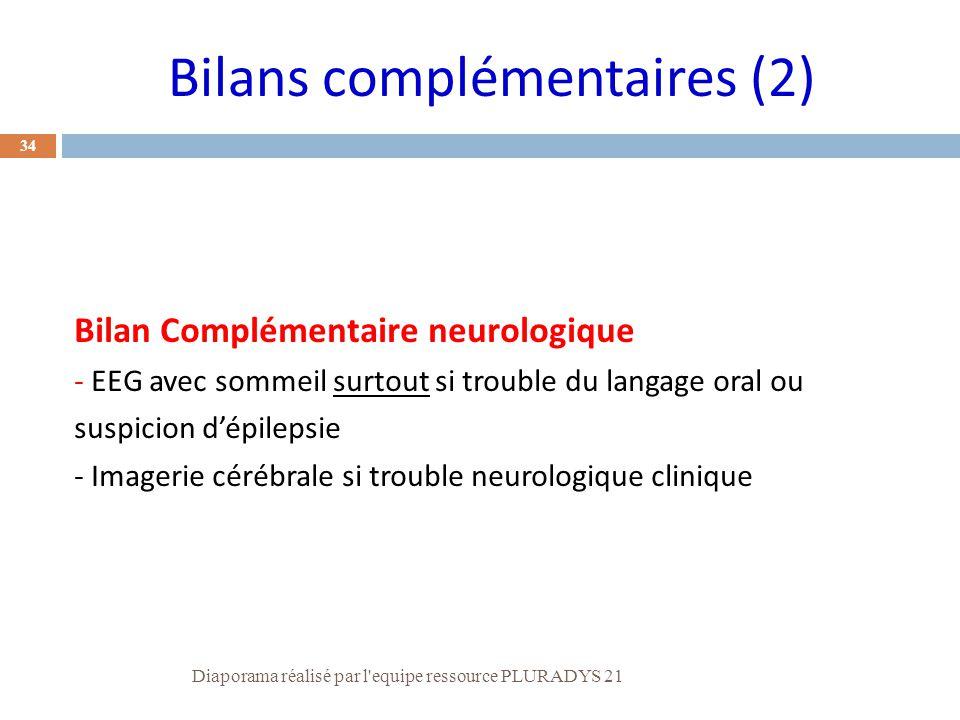 34 Bilan Complémentaire neurologique - EEG avec sommeil surtout si trouble du langage oral ou suspicion d'épilepsie - Imagerie cérébrale si trouble ne