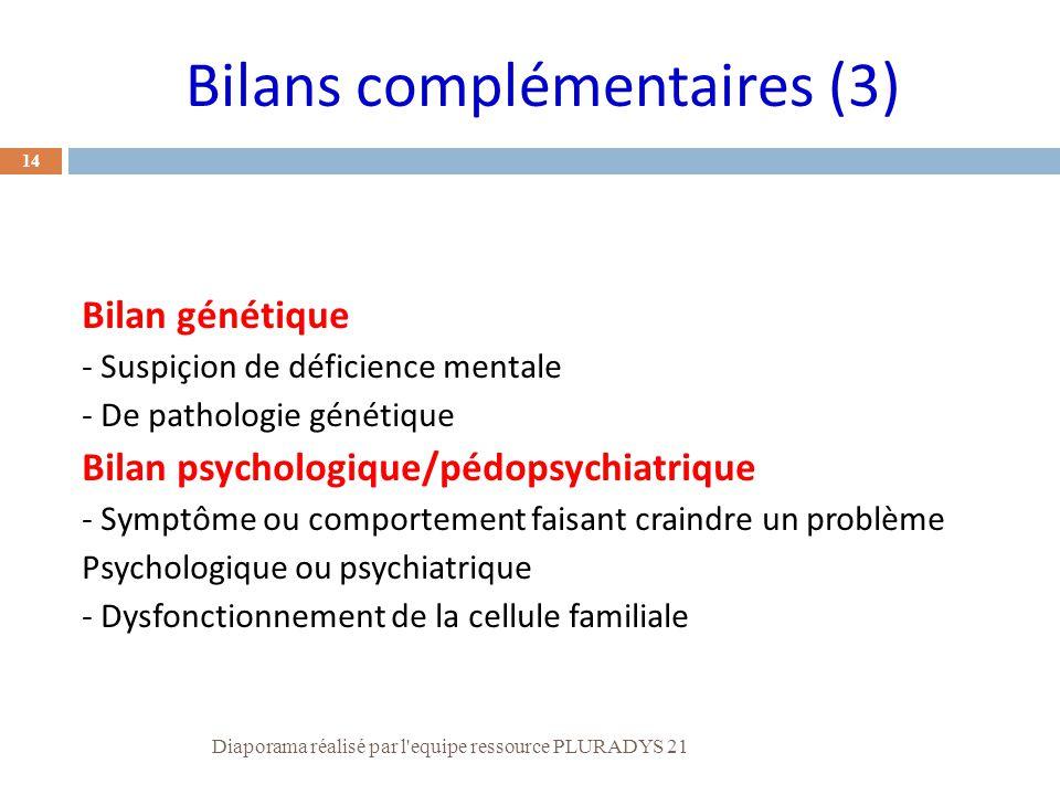 14 Bilan génétique - Suspiçion de déficience mentale - De pathologie génétique Bilan psychologique/pédopsychiatrique - Symptôme ou comportement faisan