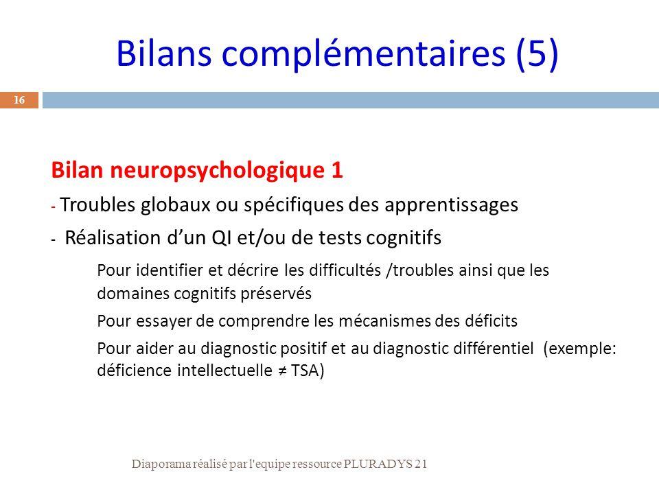 16 Bilan neuropsychologique 1 - Troubles globaux ou spécifiques des apprentissages - Réalisation d'un QI et/ou de tests cognitifs Pour identifier et d