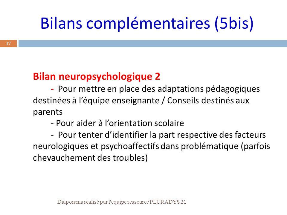 Bilan neuropsychologique 2 - Pour mettre en place des adaptations pédagogiques destinées à l'équipe enseignante / Conseils destinés aux parents - Pour