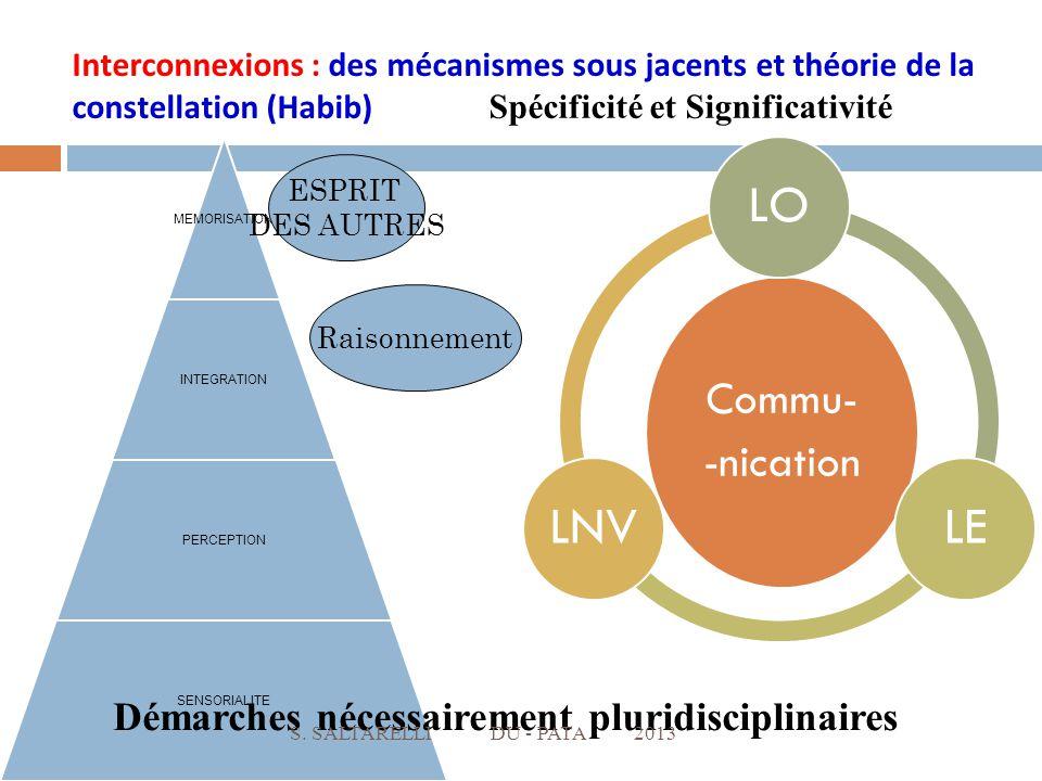 MEMORISATION INTEGRATION PERCEPTION SENSORIALITE ESPRIT DES AUTRES Commu- -nication LOLELNV Raisonnement Interconnexions : des mécanismes sous jacents