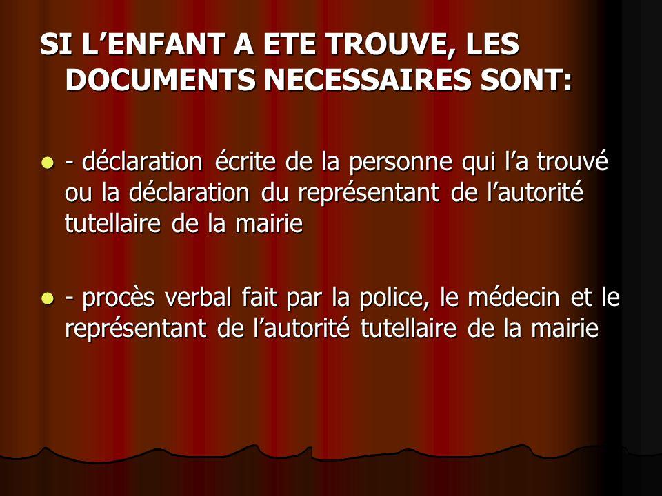 SI L'ENFANT A ETE TROUVE, LES DOCUMENTS NECESSAIRES SONT: - déclaration écrite de la personne qui l'a trouvé ou la déclaration du représentant de l'au