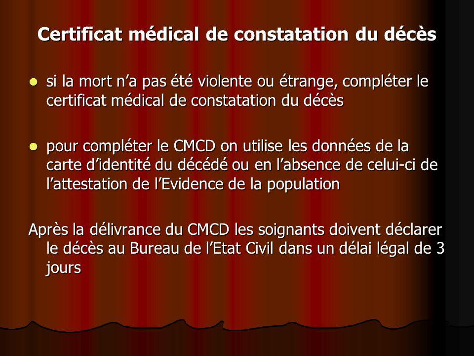 Certificat médical de constatation du décès si la mort n'a pas été violente ou étrange, compléter le certificat médical de constatation du décès si la