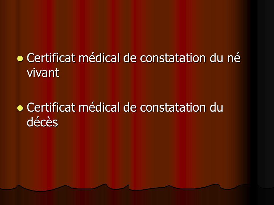 Certificat médical de constatation du né vivant Certificat médical de constatation du né vivant Certificat médical de constatation du décès Certificat