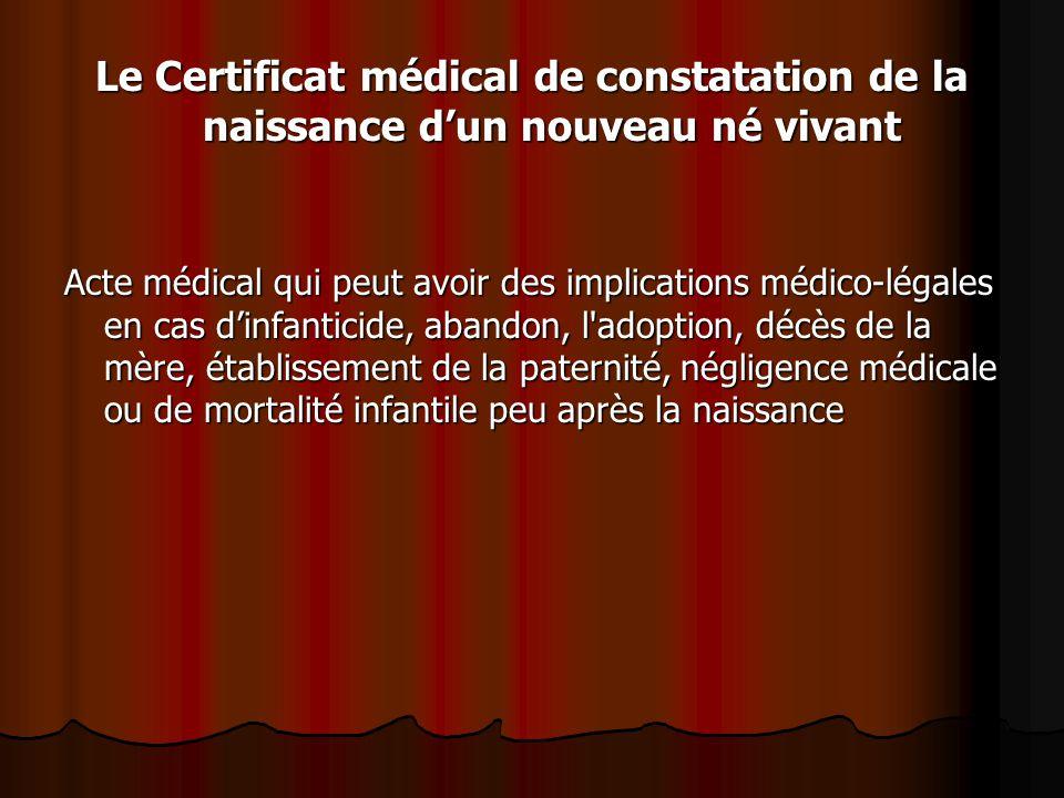 Le Certificat médical de constatation de la naissance d'un nouveau né vivant Acte médical qui peut avoir des implications médico-légales en cas d'infa
