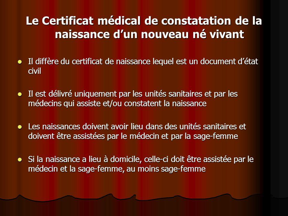 Le Certificat médical de constatation de la naissance d'un nouveau né vivant Il diffère du certificat de naissance lequel est un document d'état civil