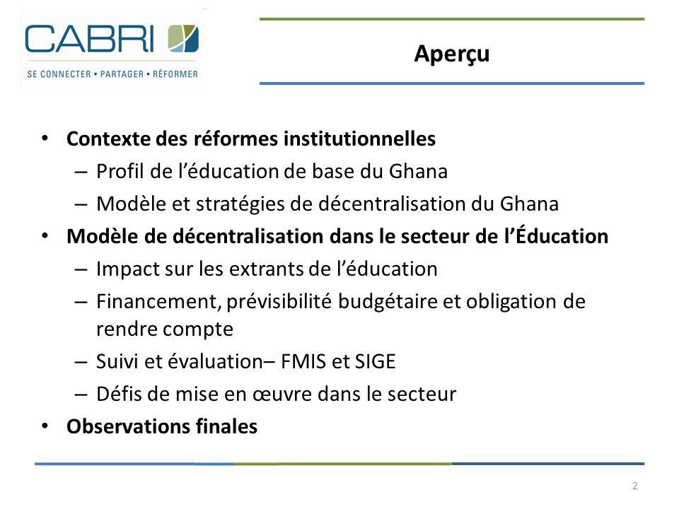 Aperçu Contexte des réformes institutionnelles – Profil de l'éducation de base du Ghana – Modèle et stratégies de décentralisation du Ghana Modèle de