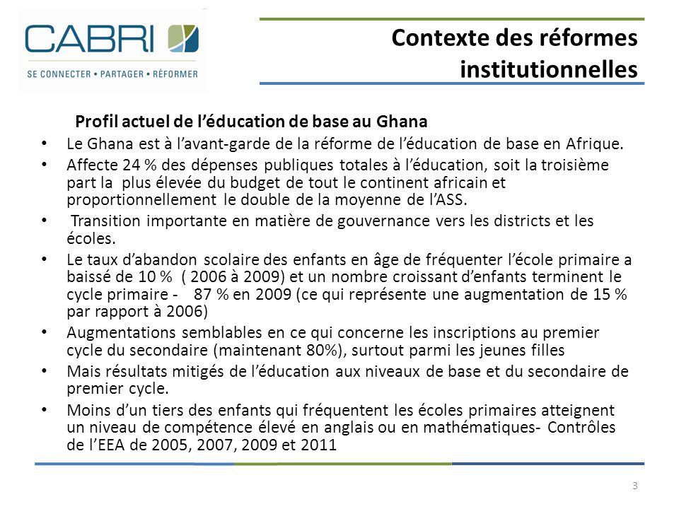 Contexte des réformes institutionnelles Profil actuel de l'éducation de base au Ghana Le Ghana est à l'avant-garde de la réforme de l'éducation de bas