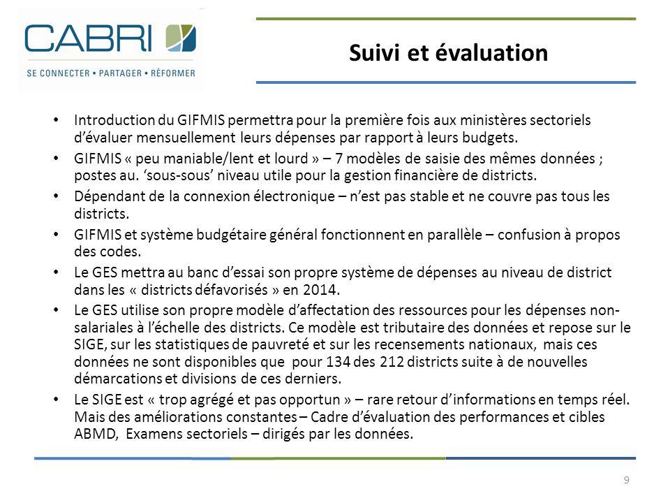 Suivi et évaluation Introduction du GIFMIS permettra pour la première fois aux ministères sectoriels d'évaluer mensuellement leurs dépenses par rappor