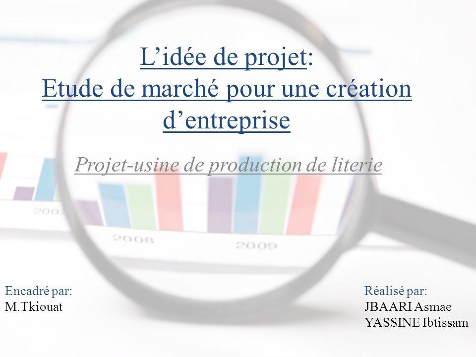 L'idée de projet: Etude de marché pour une création d'entreprise Projet-usine de production de literie Encadré par: M.Tkiouat Réalisé par: JBAARI Asmae YASSINE Ibtissam