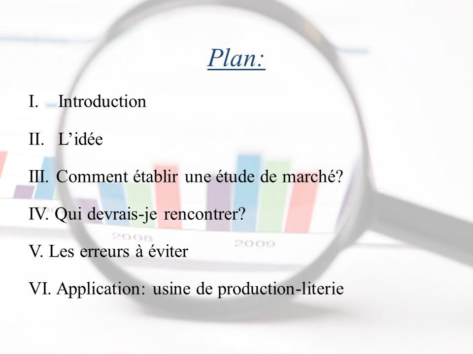 Plan: I.Introduction II.L'idée III.Comment établir une étude de marché.