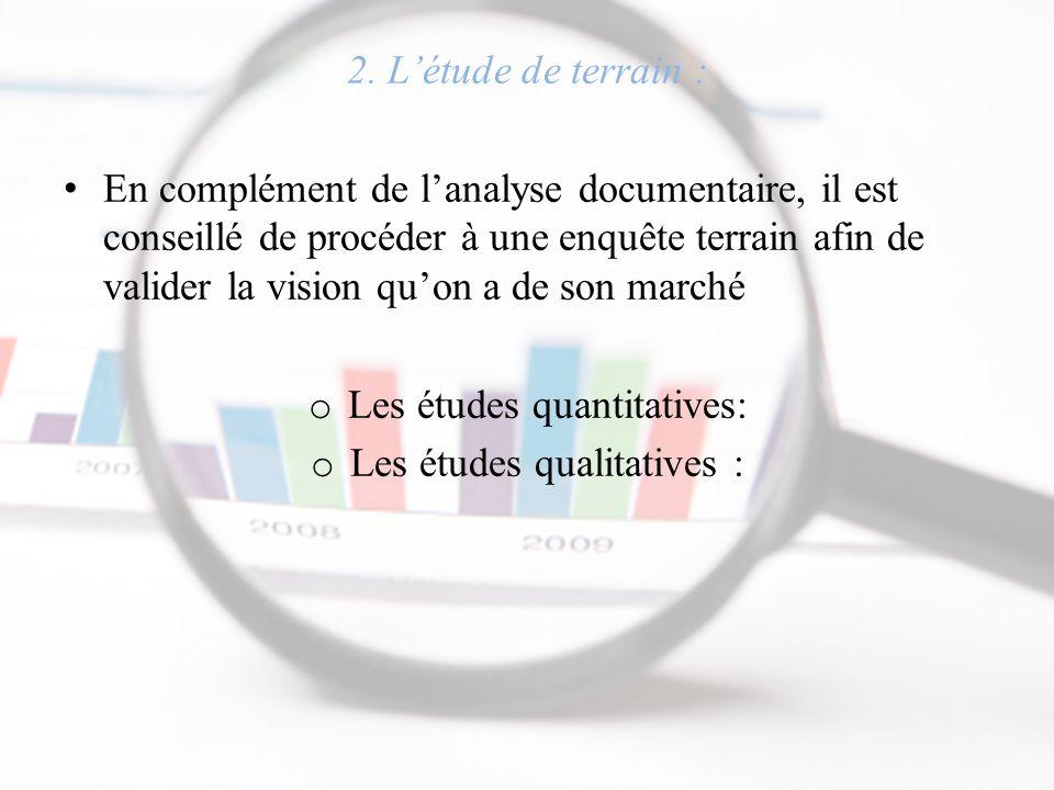 2. L'étude de terrain : En complément de l'analyse documentaire, il est conseillé de procéder à une enquête terrain afin de valider la vision qu'on a