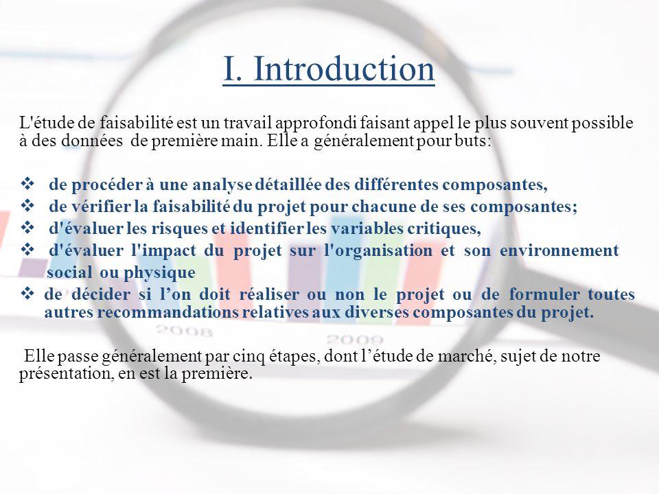 I. Introduction L'étude de faisabilité est un travail approfondi faisant appel le plus souvent possible à des données de première main. Elle a général