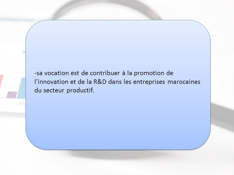 R&D Maroc www.rdmaroc.com R&D Maroc www.rdmaroc.com -sa vocation est de contribuer à la promotion de l'innovation et de la R&D dans les entreprises marocaines du secteur productif.