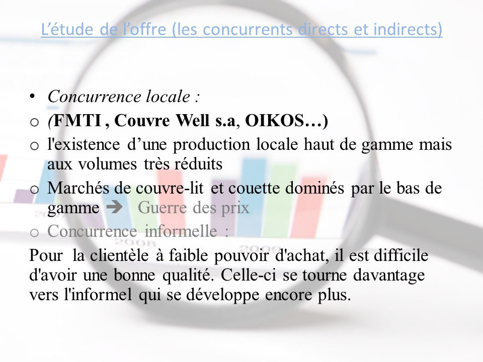 L'étude de l'offre (les concurrents directs et indirects) Concurrence locale : o (FMTI, Couvre Well s.a, OIKOS…) o l'existence d'une production locale