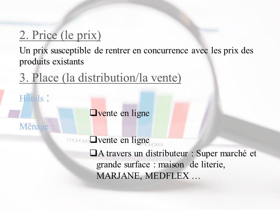 2. Price (le prix) Un prix susceptible de rentrer en concurrence avec les prix des produits existants 3. Place (la distribution/la vente) Hôtels :  v