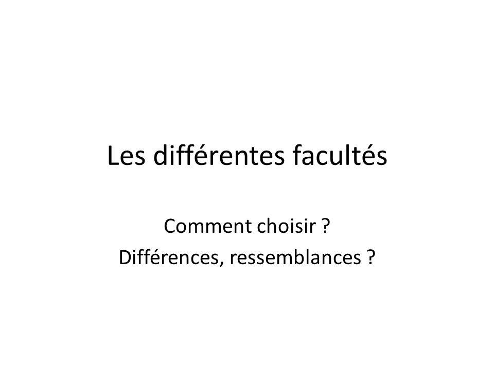 Les différentes facultés Comment choisir ? Différences, ressemblances ?