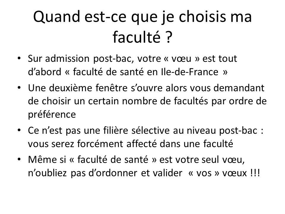 Quand est-ce que je choisis ma faculté ? Sur admission post-bac, votre « vœu » est tout d'abord « faculté de santé en Ile-de-France » Une deuxième fen