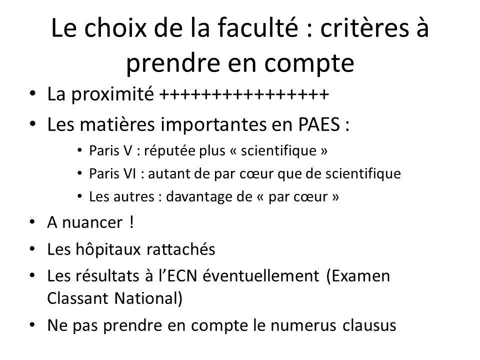 Le choix de la faculté : critères à prendre en compte La proximité ++++++++++++++++ Les matières importantes en PAES : Paris V : réputée plus « scientifique » Paris VI : autant de par cœur que de scientifique Les autres : davantage de « par cœur » A nuancer .