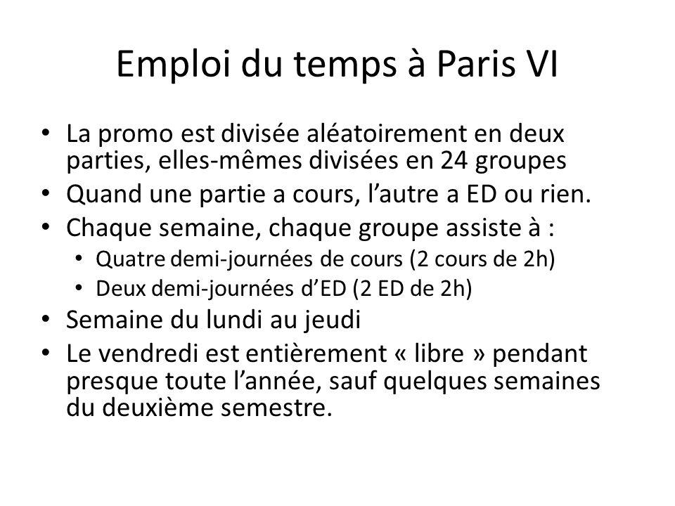 Emploi du temps à Paris VI La promo est divisée aléatoirement en deux parties, elles-mêmes divisées en 24 groupes Quand une partie a cours, l'autre a ED ou rien.