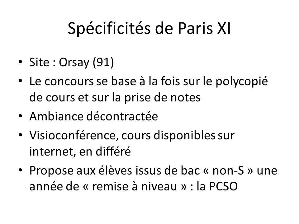 Spécificités de Paris XI Site : Orsay (91) Le concours se base à la fois sur le polycopié de cours et sur la prise de notes Ambiance décontractée Visioconférence, cours disponibles sur internet, en différé Propose aux élèves issus de bac « non-S » une année de « remise à niveau » : la PCSO